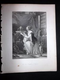 After Brown 1846 Antique Pretty Lady Print. The Jew's Daughter of Pergamus